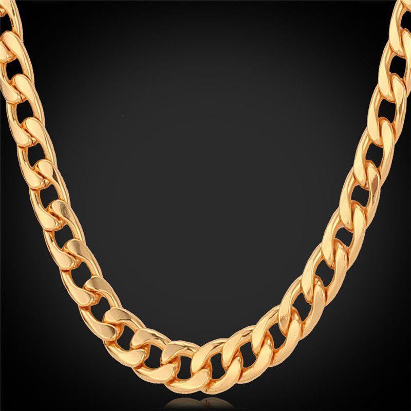 7MM Chunky GoldBlackPlatinumRose Gold Necklace Plated Curb