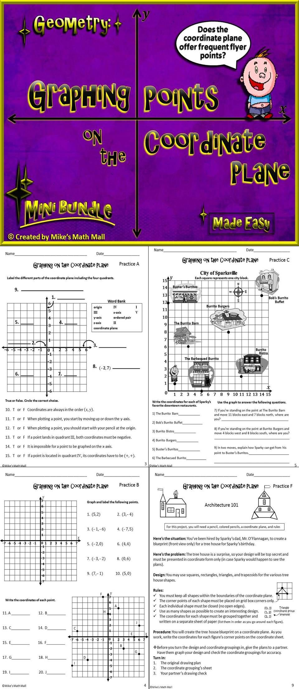Graph Points On The Coordinate Plane Mini Bundle Math