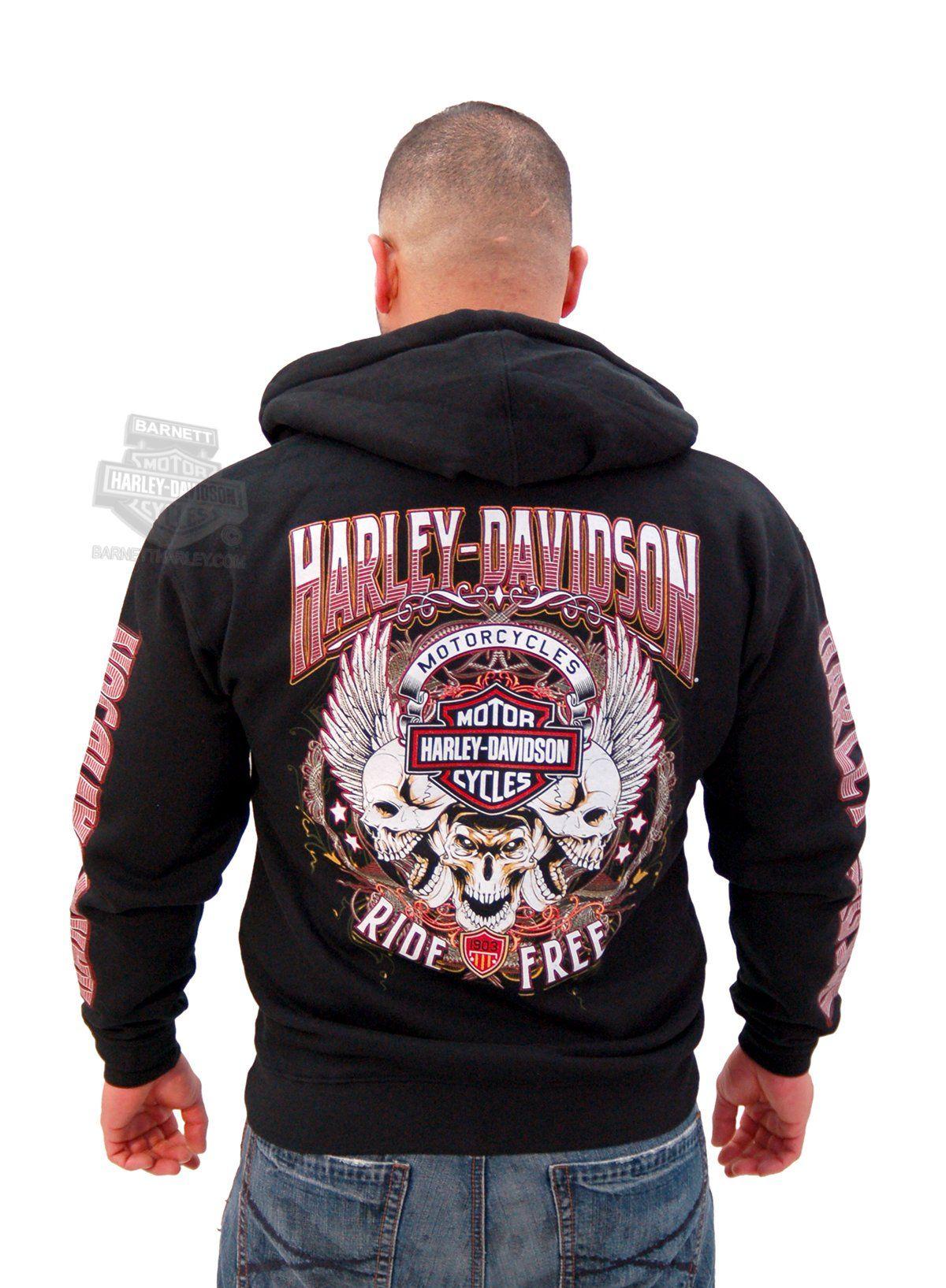 Harley-Davidson Mens Winged Skulls Trio Full Zip Black ...
