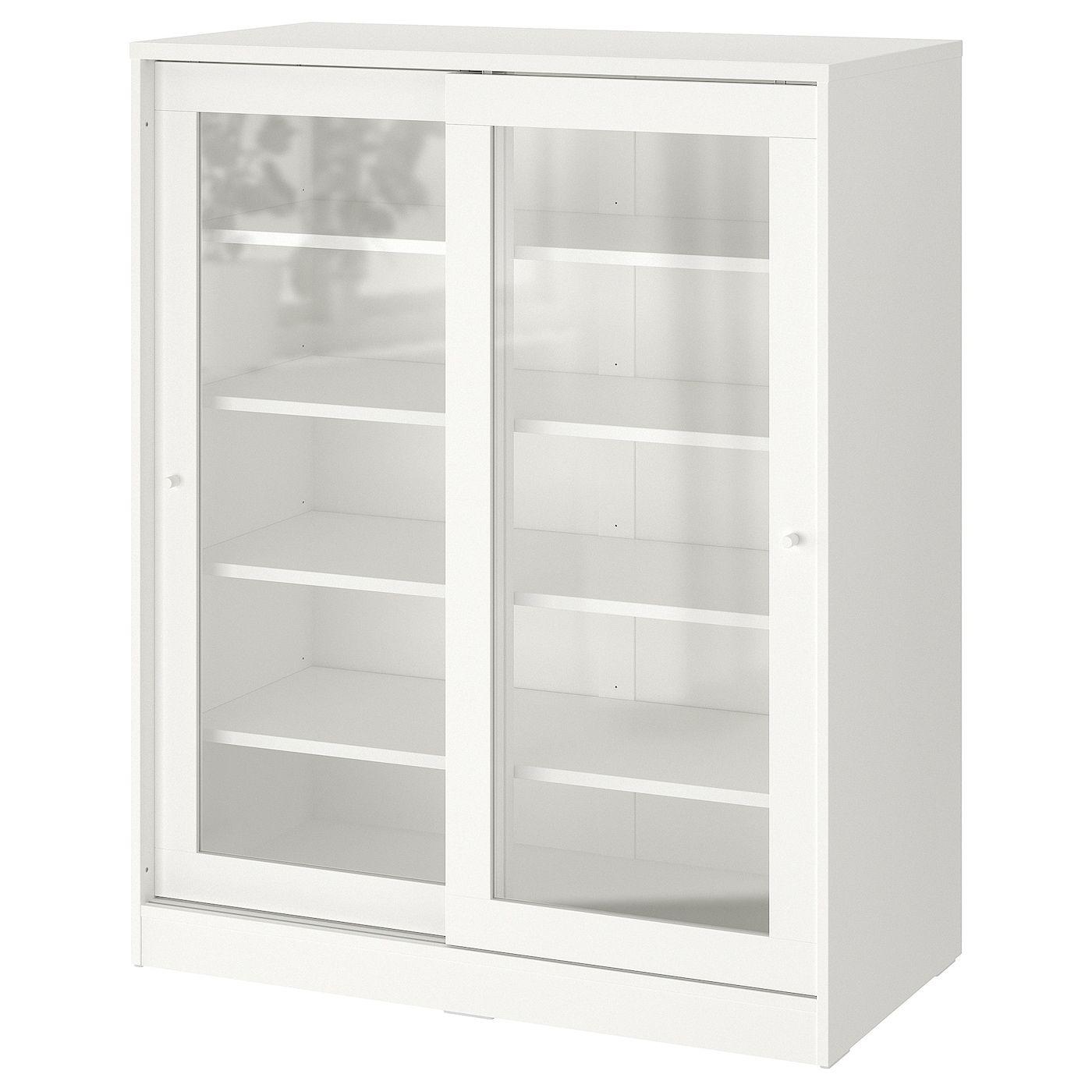 Binari Per Ante Scorrevoli Ikea.Syvde Mobile Con Ante A Vetro Bianco 100x123 Cm Idee Ikea