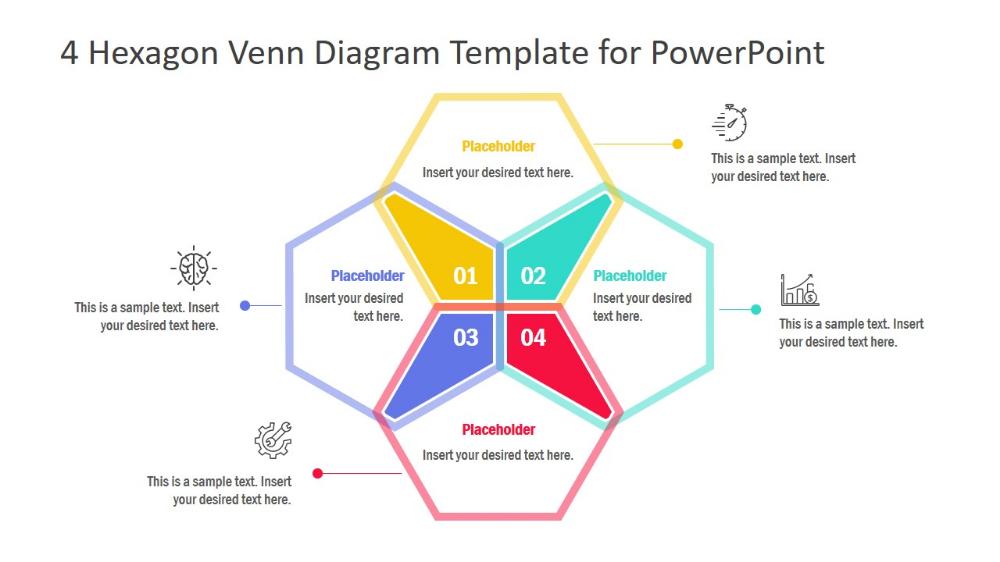 4 Hexagon Venn Diagram Powerpoint Template Slidemodel Diagram Design Powerpoint Templates Venn Diagram