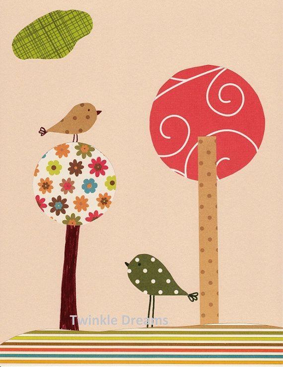 Nursery Art Birds Print Baby Room Decor  View up by twinkledreams, $15.00