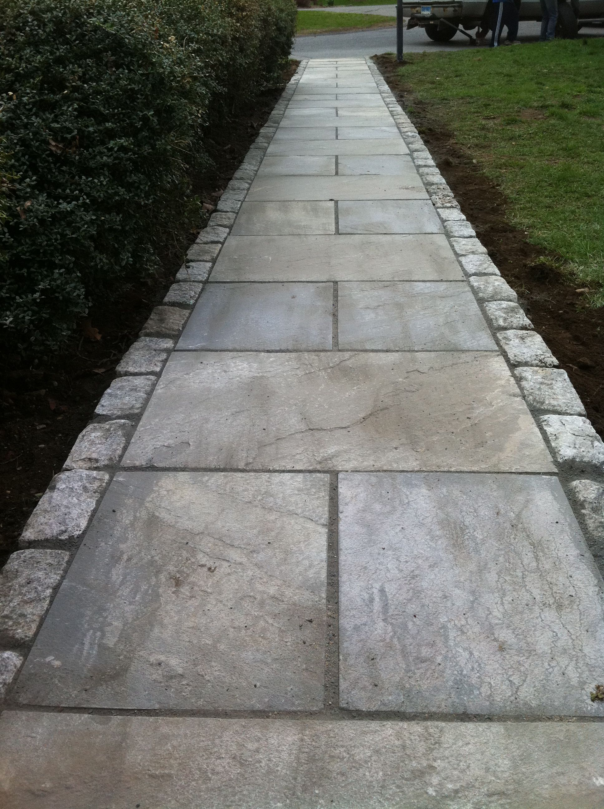 Natural Cleft Flagstone With Belgium Block Driveway Landscaping Outdoor Projects Landscape