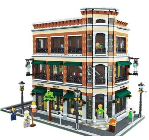 Lego moc modular bookstore and starbuck custom model