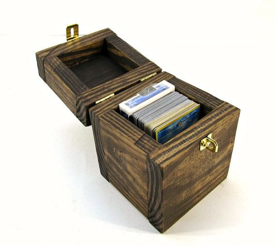 Rustic Wooden Card Deck Box With Ornate Latch Trading Card Etsy Wooden Cards Deck Box Card Storage