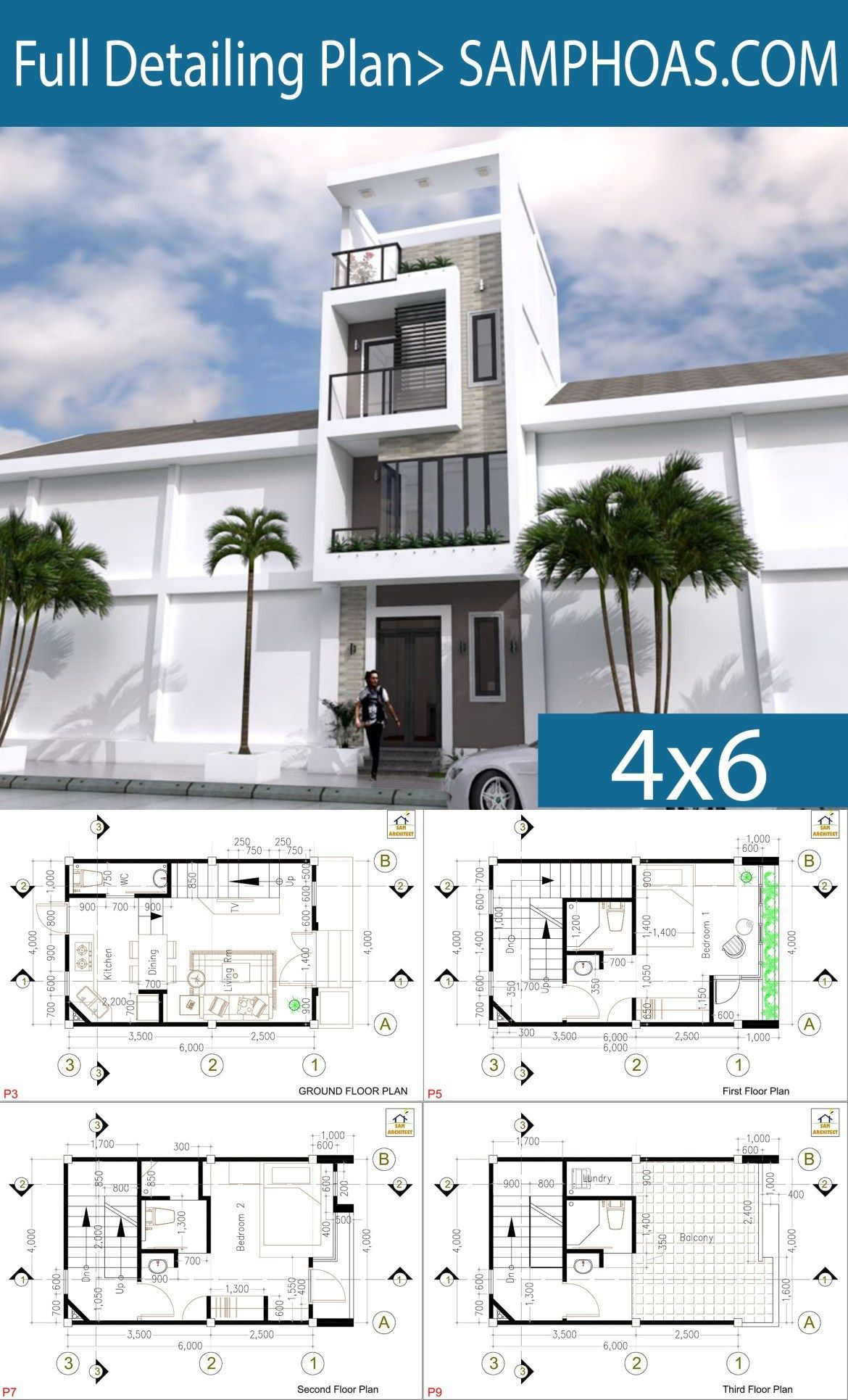 Sketchup Modern Narrow Home Plan 4x6m Narrow House Plans Modern House Facades Free House Design