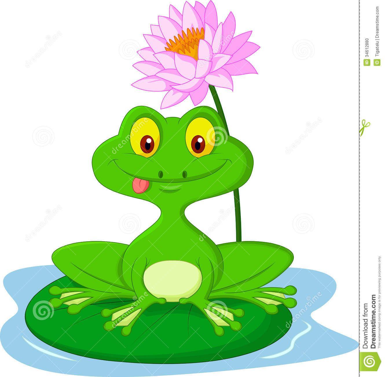Rainbow Frog On Lily Pad | Green Frog Cartoon Sitting On A Leaf ...