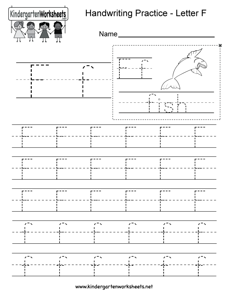 Letter F Writing Practice Worksheet. This series of handwriting alphabet  worksheets can also be cut