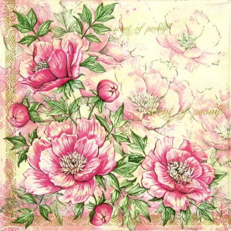 4x serviettes en papier pour découpage DECOPATCH Craft roses sur bois
