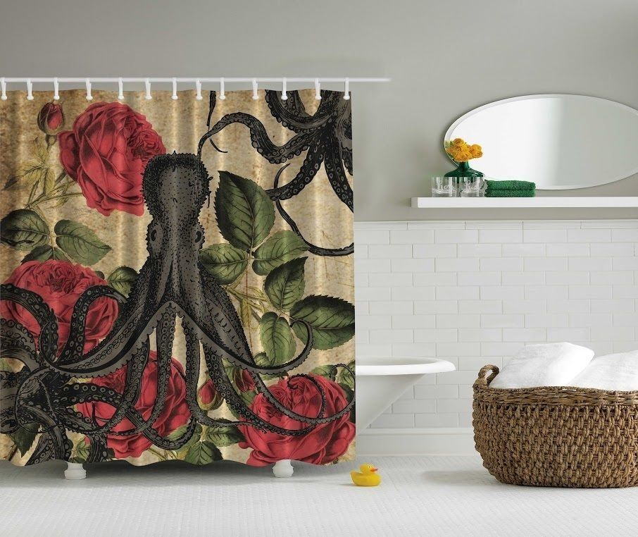 Octopus And Roses Shower Curtain
