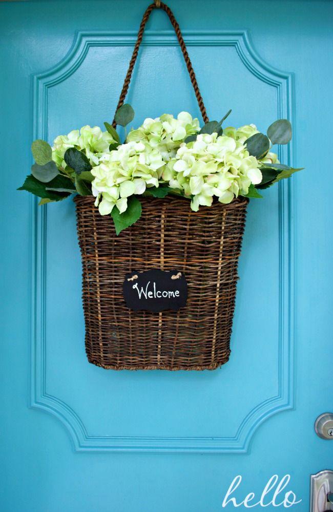 Simple Summer Front Door Basket Pinterest