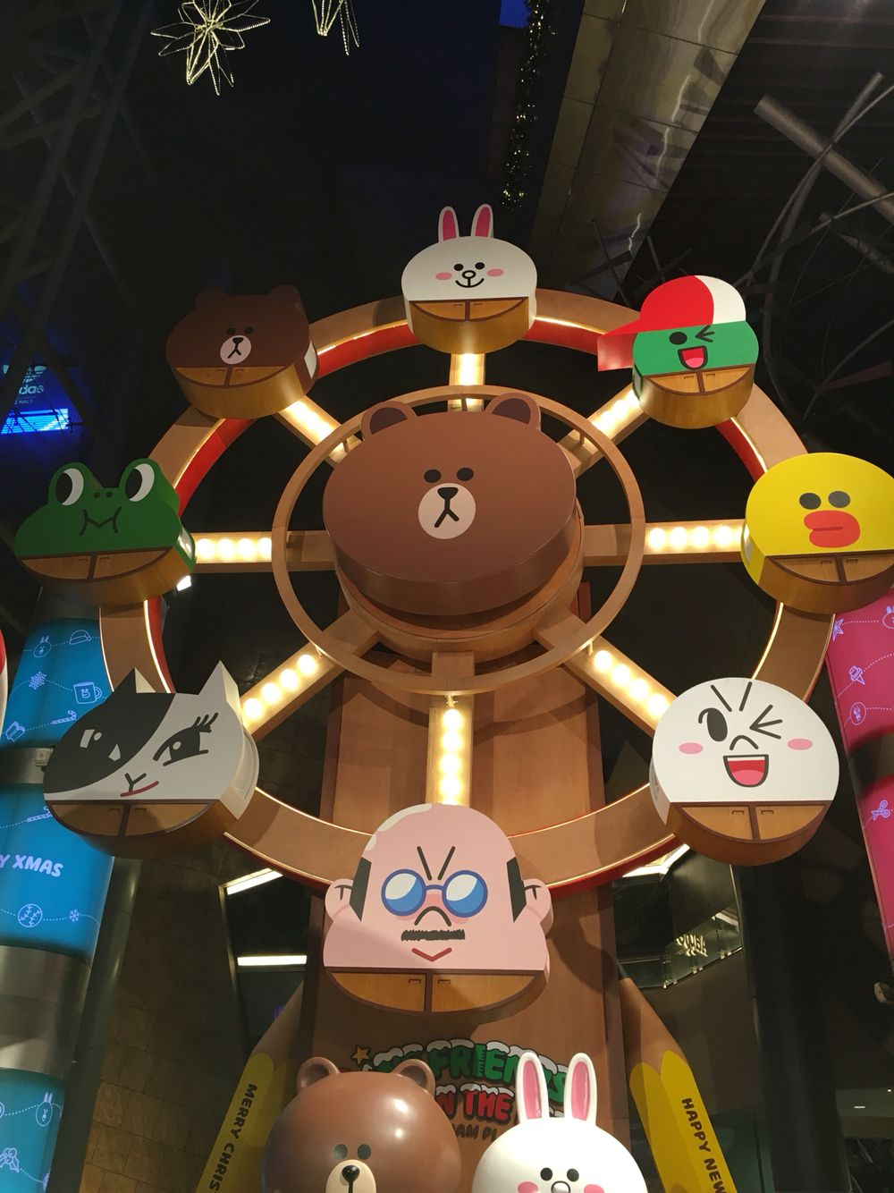 Line friends ferries wheel with images friends cake