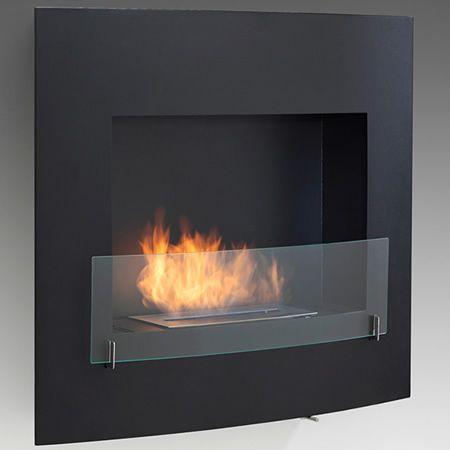 Wynn Wall Mount Ethanol Fireplace Matte Black Woodlanddirect