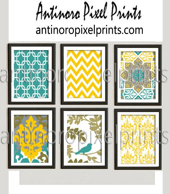 Teal Mustard Yellow A3 Ikat Pictures, Set of (6) Wall Art Prints ...