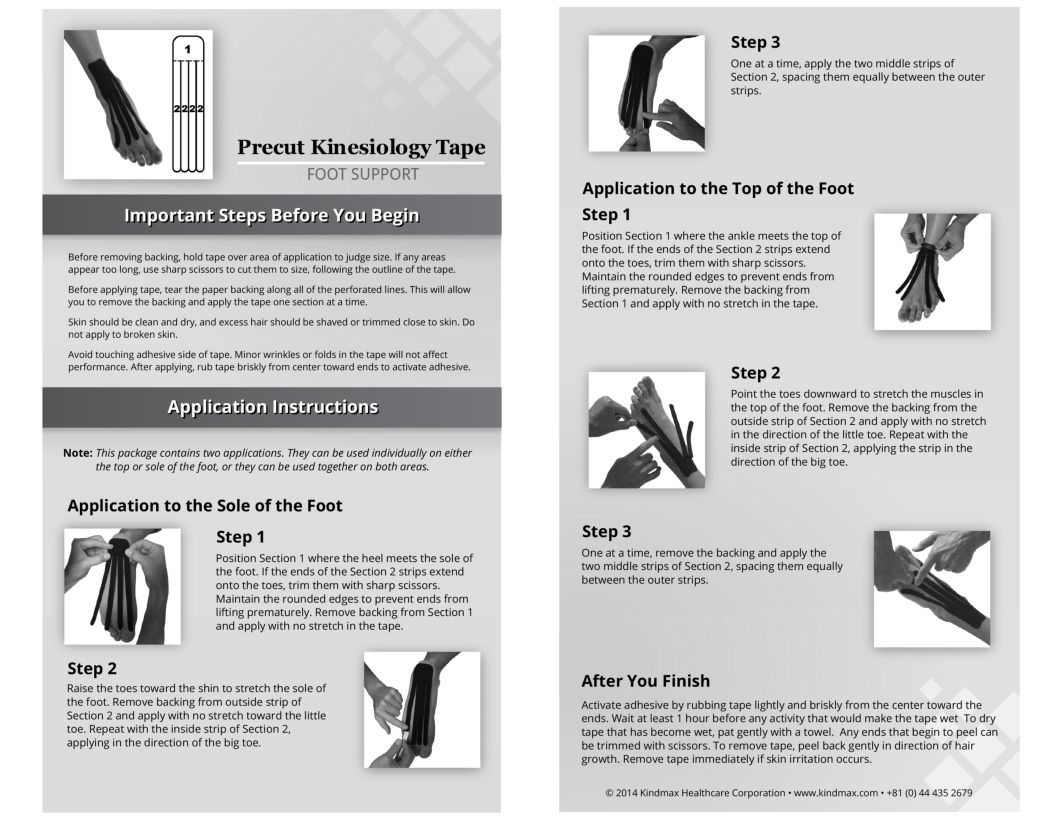 Foot support application instructions tapebynumbers