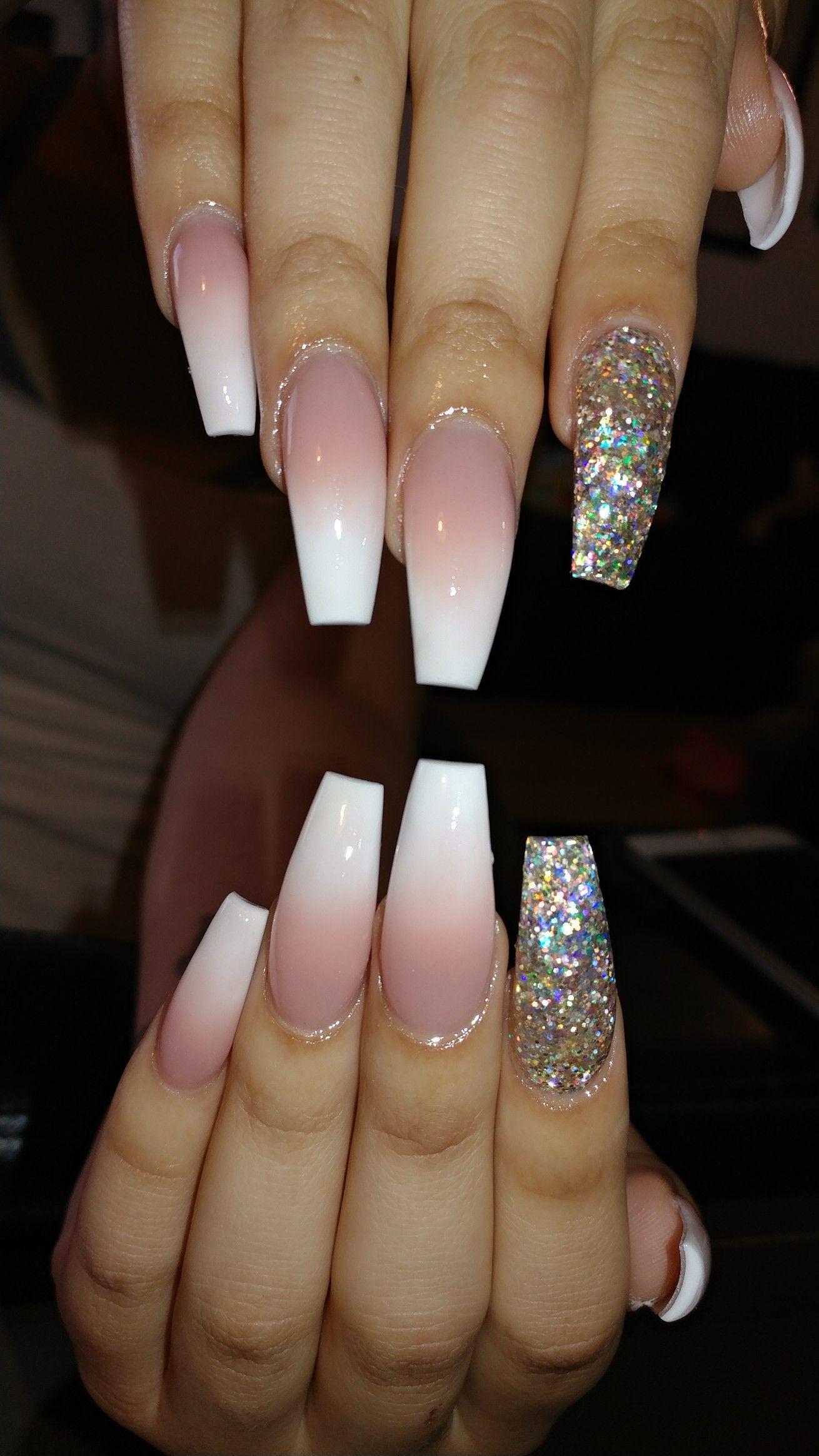 Long Ombre Acrylic Nails