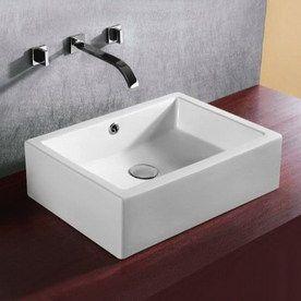 Nameeks Ceramica 6 7/8 In D White Porcelain Rectangular Vessel Sink