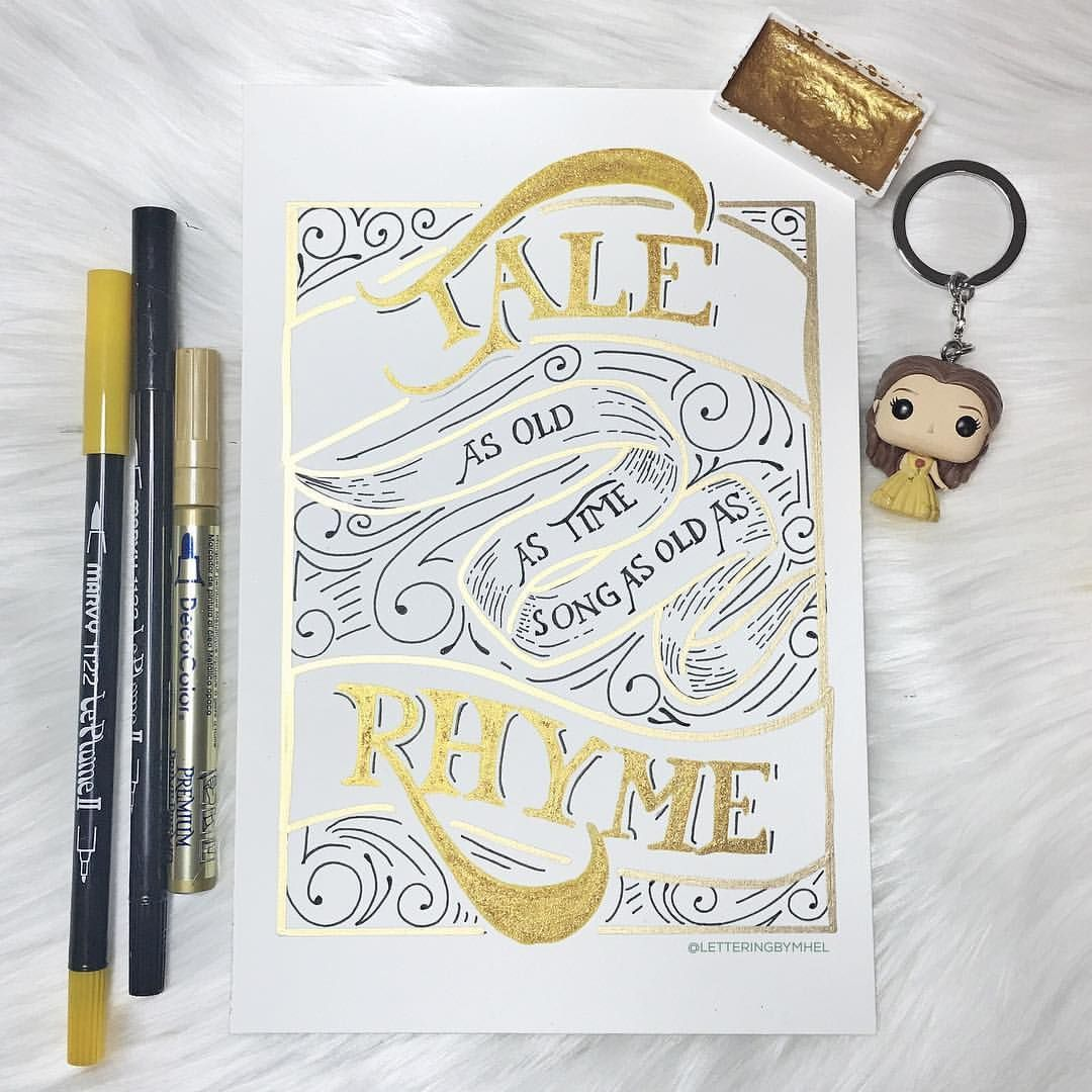 Beauty And The Beast Inspired Piece By Lettering By Mhel Hand