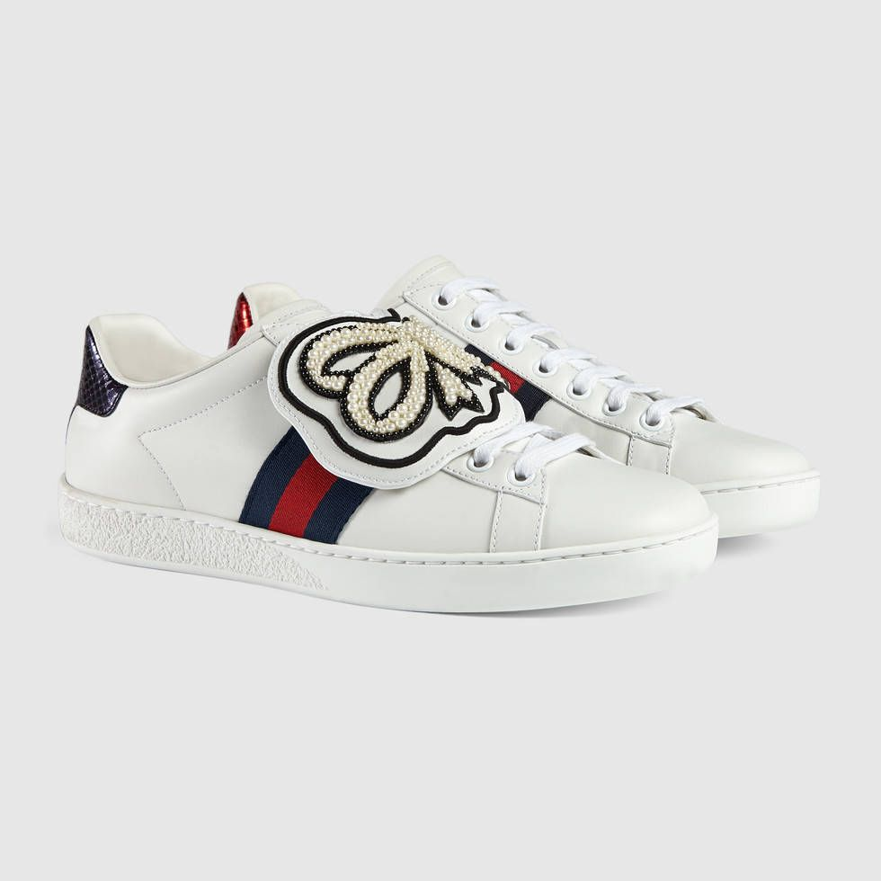 4cdab6c84f0 Gucci Ace pearl bow patch Detail 2