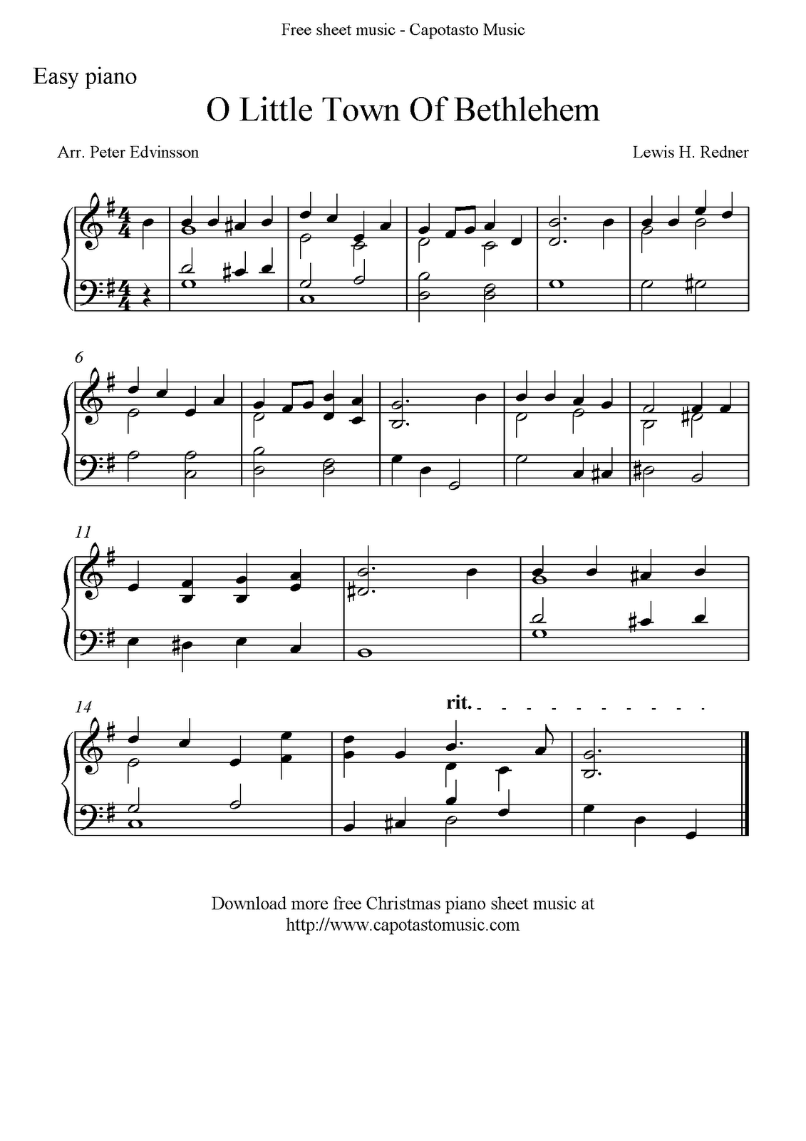 easy piano solo arrangement by peter edvinsson of the christmas carol o little town of bethlehem - Free Christmas Piano Sheet Music