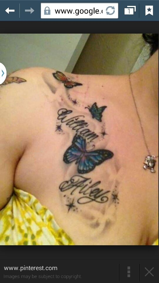 Shoulder Name Tattoo With Butterfly Tattoos Name Tattoos