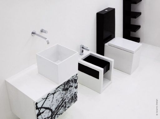 WC design - BOX  Version noir et blanc pour le duo WC-bidet de la