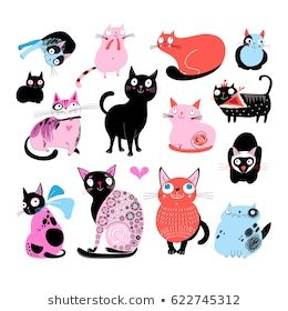 Vector color set of different funny cats and a white ...
