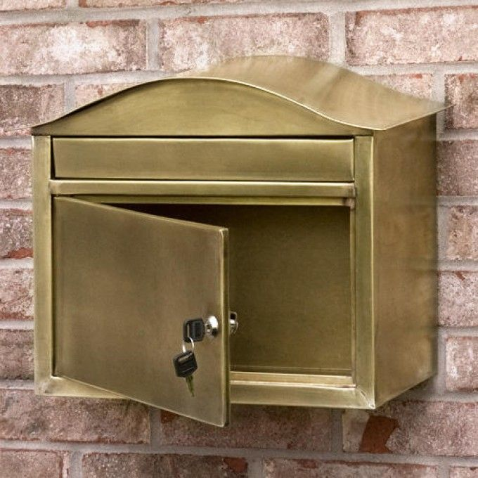 Kenton Locking Wall Mount Brass Mailbox Antique Brass Antique Brass Outdoor Accessories Wall Mount Mailbox