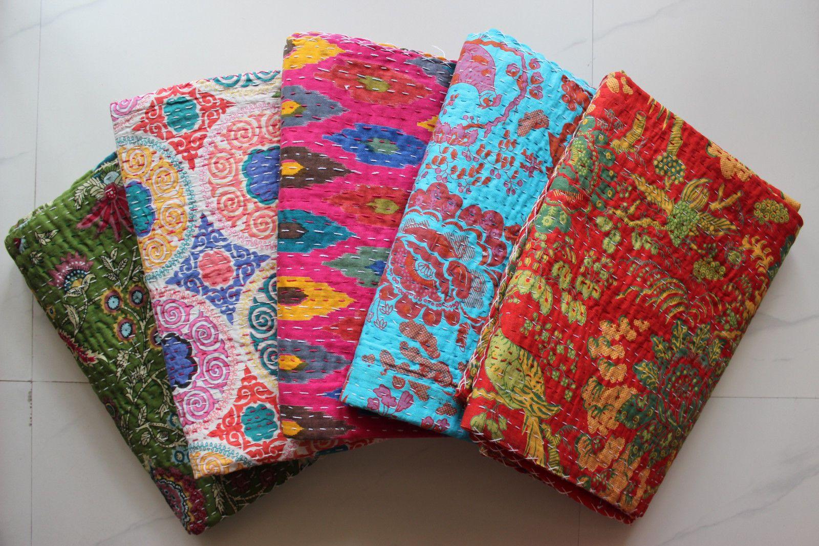 5 Twin Kantha Quilts Throw Gudari Ralli Handmade Cotton Blankets ... : quilted throws wholesale - Adamdwight.com