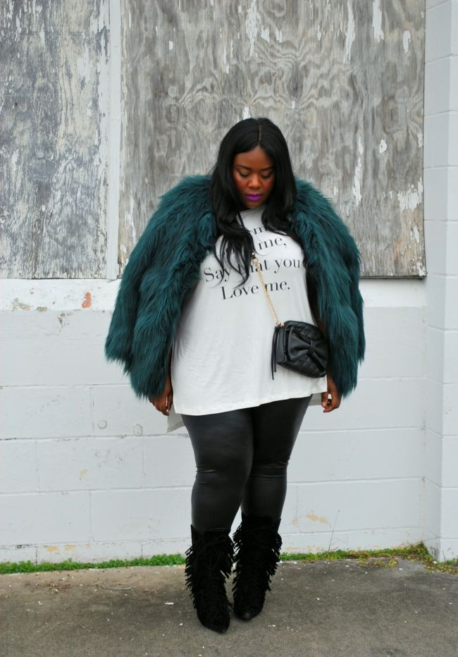 Musings of a Curvy Lady, Fashion Blogger, Fashion Blog, Plus Size Fashion Blog, Plus Size Fashion, OOTD, Ashley Stewart, Faux Fur, Simply Be, Living Dolls LA, Leather Leggings, Fringe Boots, Shoe Dazzle, Lyrics, Quilted Crossover Bag, Matte lip stick