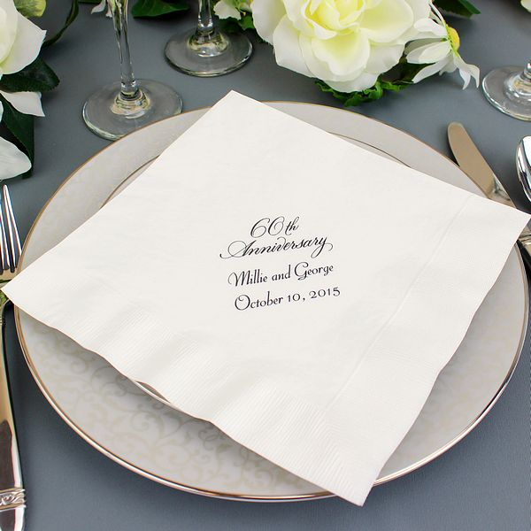 Ideas To Celebrate Wedding Anniversary: Custom Printed 60th Wedding Anniversary Dinner Napkins
