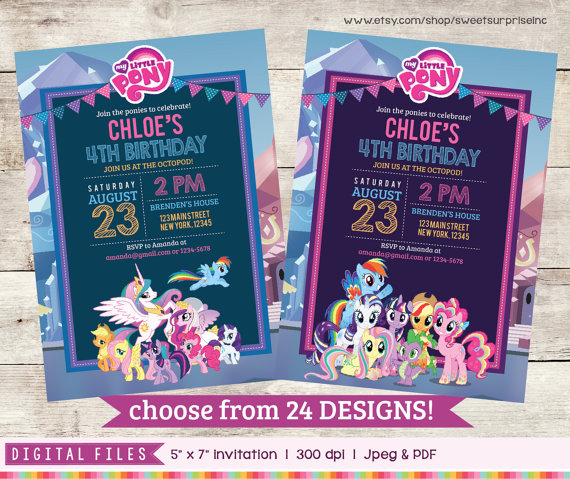 My Little Pony Invitation Birthday Ponies Friendship Is Magic 1st Birt