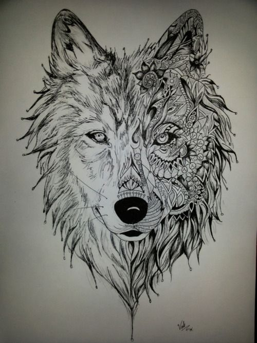 dibujo de un lobo a lapiz - Buscar con Google