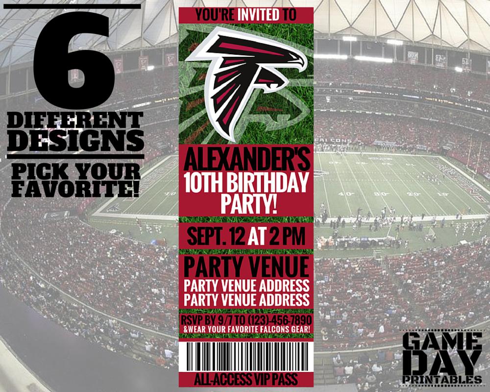 Atlanta Falcons Birthday Party Invitation Gameday Printables On Etsy Football Birthday Party Printable Birthday Invitations Football Theme Party