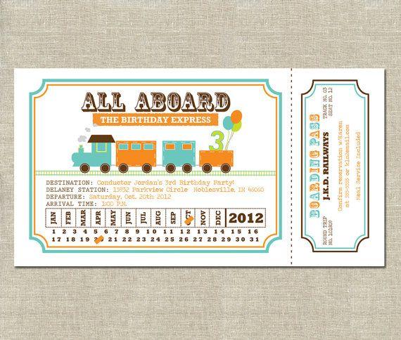 Train Ticket Invitation Birthday All Aboard By Invitationceleb Fun Idea Use Ticket Invitation Birthday Train Ticket Invitations Train Birthday Invitations