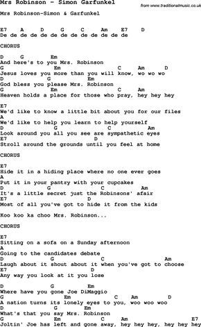 Song Mrs Robinson By Simon Garfunkel With Lyrics For Vocal Performance And Accompaniment Chords Ukulele Guitar Banjo Etc
