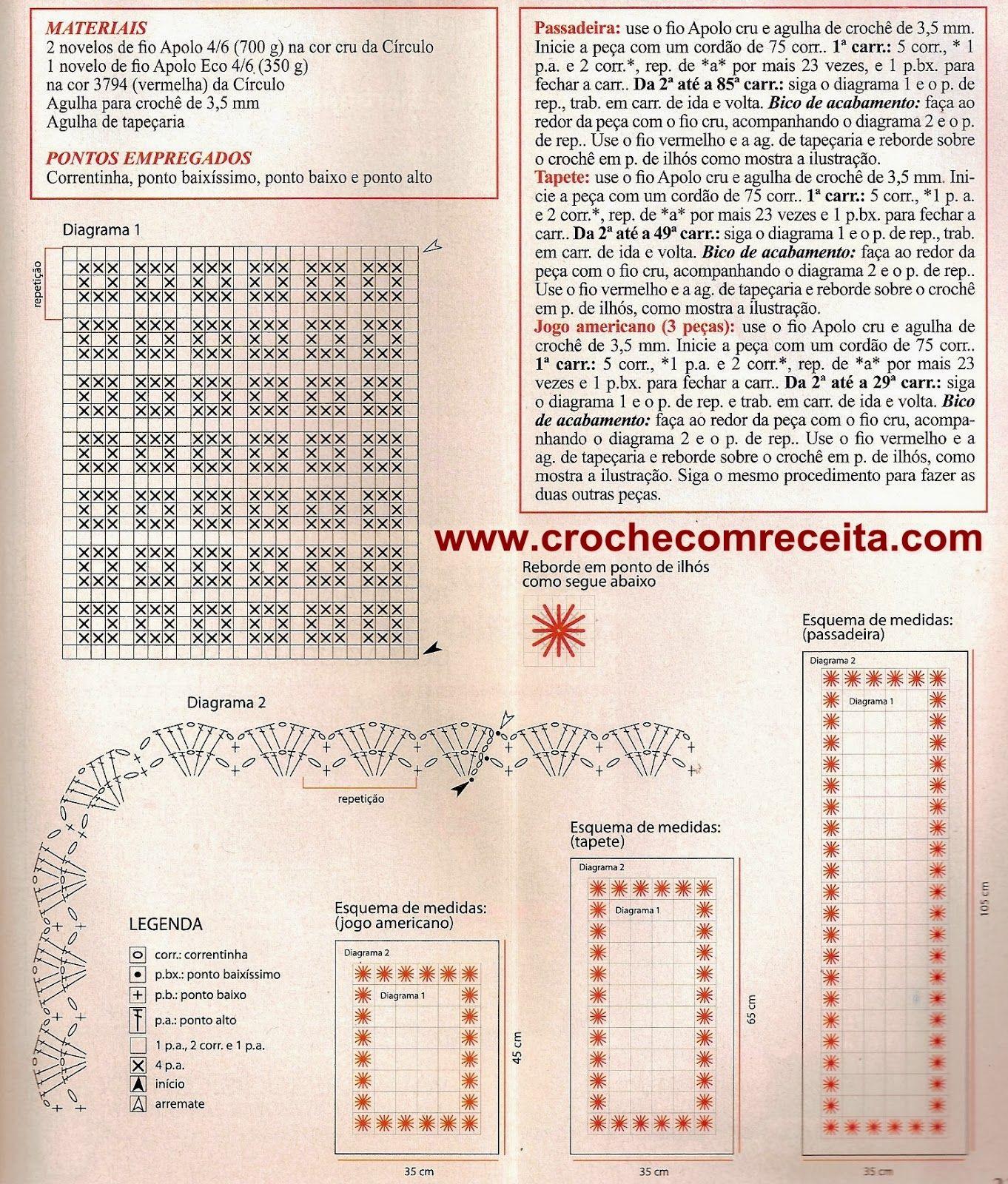 CROCHE COM RECEITA: Tapetes e americanos em crochê com bordado ponto ...