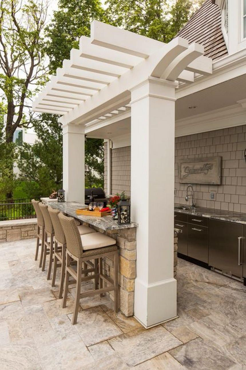 A White Pergola Reviving With An Outdoor Kitchen Setting Looks The Most Inspirational Idea In All These P Modern Outdoor Kitchen Backyard Patio Budget Backyard