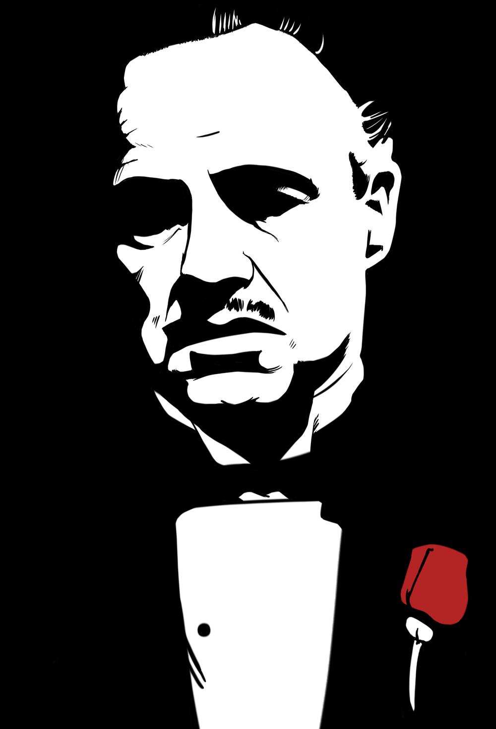 The Godfather 1972 Sketsa Siluet Ilustrasi