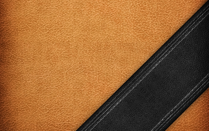Download wallpapers brown leather, leather texture, black