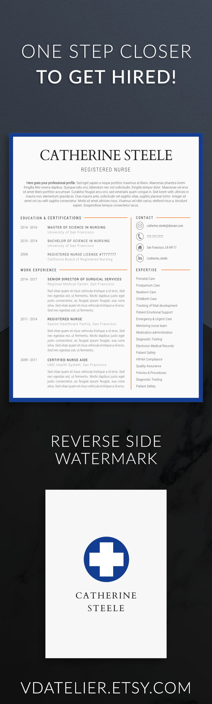 Nurse resume template for modern professionals. Suitable as medical ...