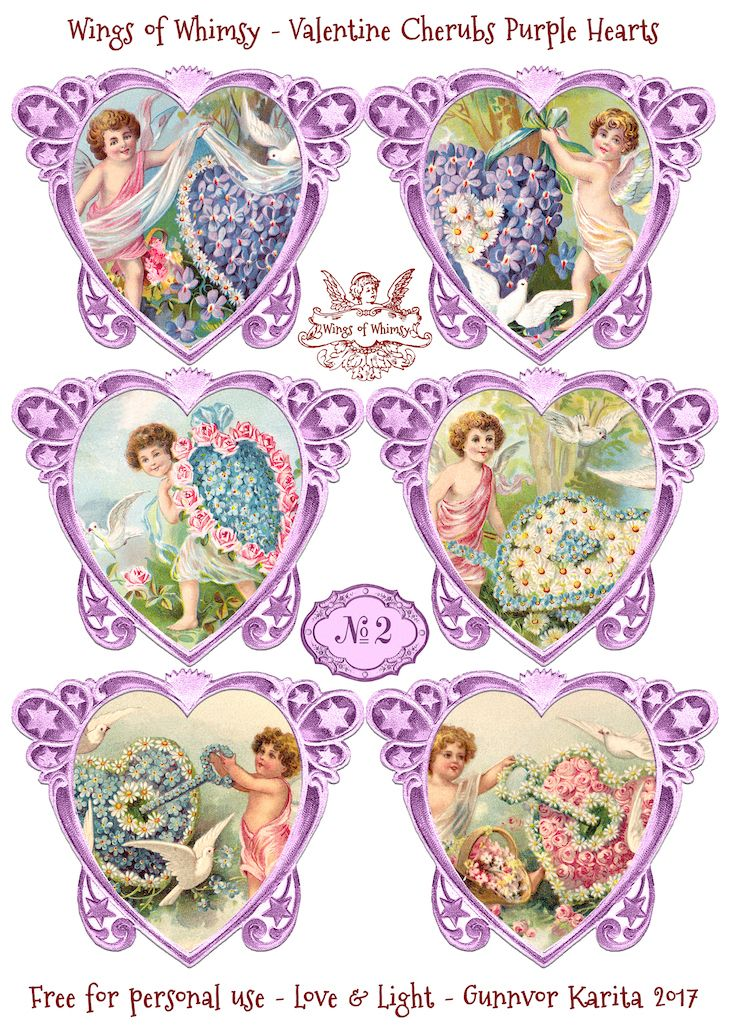 Wings of Whimsy: Valentine Cherubs Hearts Purple #vintage #ephemera #freebie #printable #valentine #heart #cherub