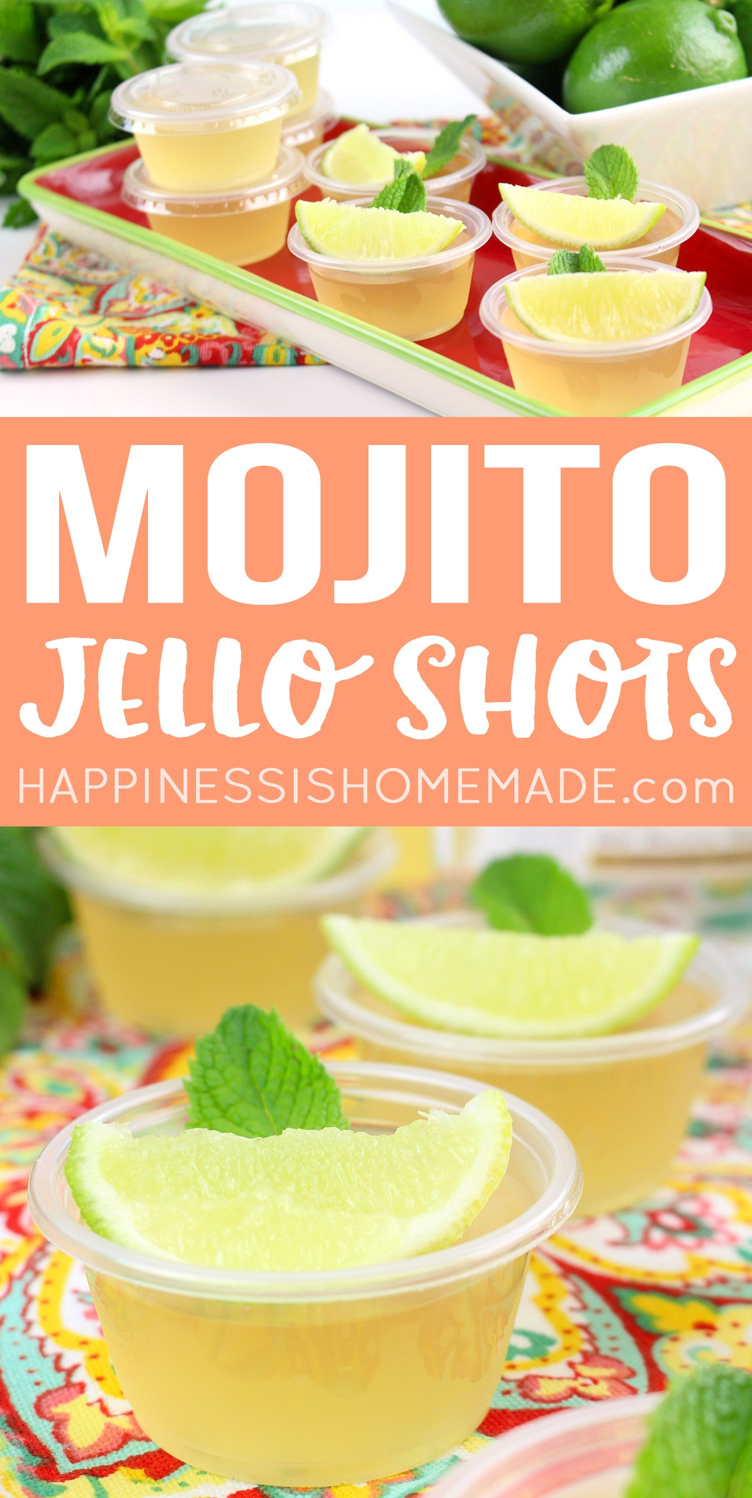 Mojito Jello Shots - Want to learn how to make jello shots? This yummy Mojito Jello Shot recipe is perfect for summer pool parties or any time of year! Delicious jello shots with rum, lime, and mint - YUM!     via @hiHomemadeBlog #jelloshots