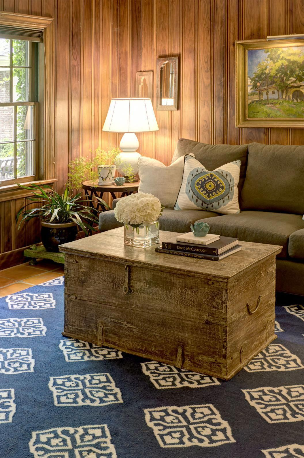 Wood Paneled Room Design: An Old Trunk Anchors This Setting Within A Gorgeous Wood