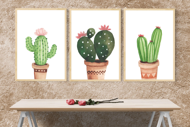 Set Of 3 Printscactus Wall Art3 Piece Wall Artcactus Etsy Cactus Wall Art Cactus Art Cactus Print