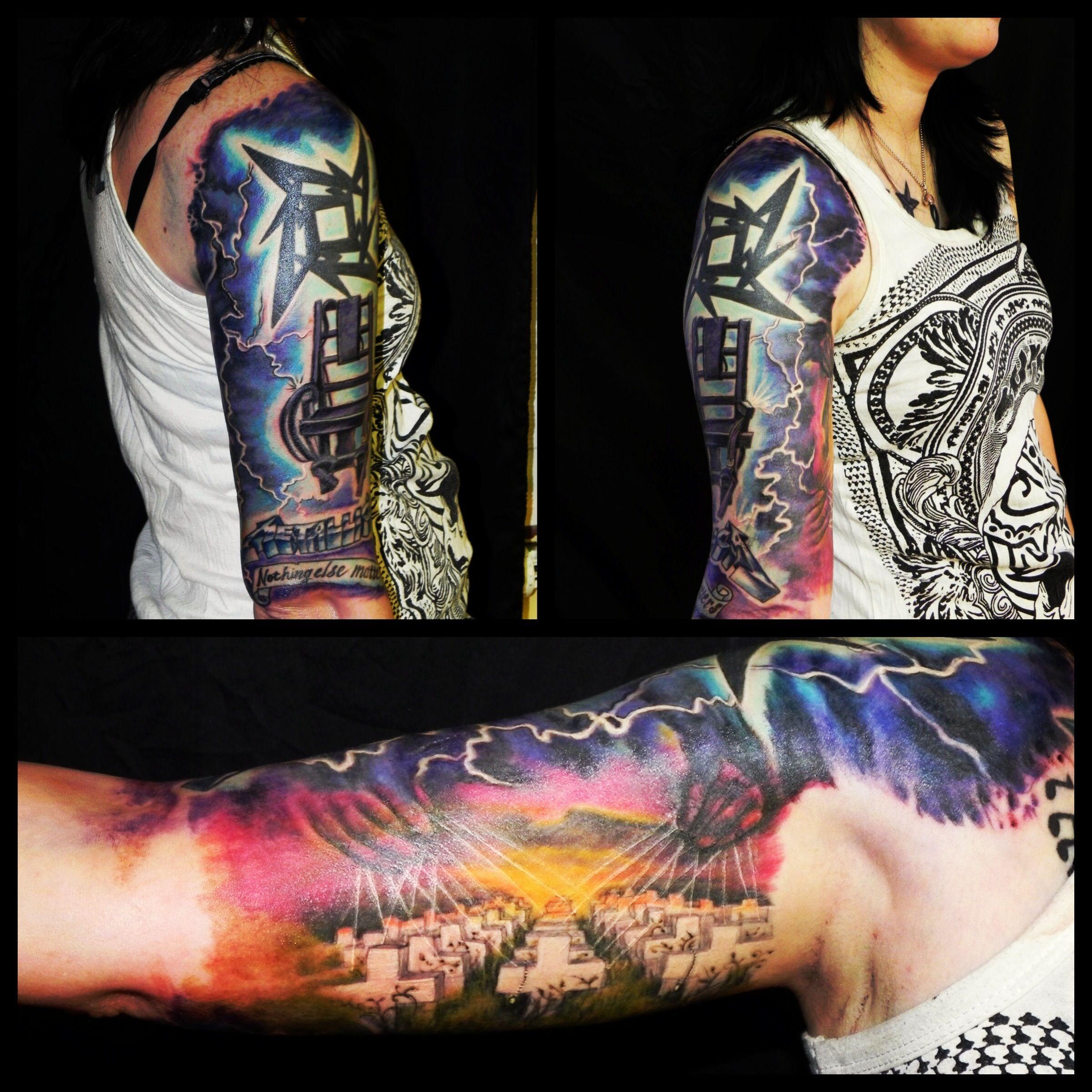 Metallica tattoo color jewelry piercings tattoos for Metallica sleeve tattoo