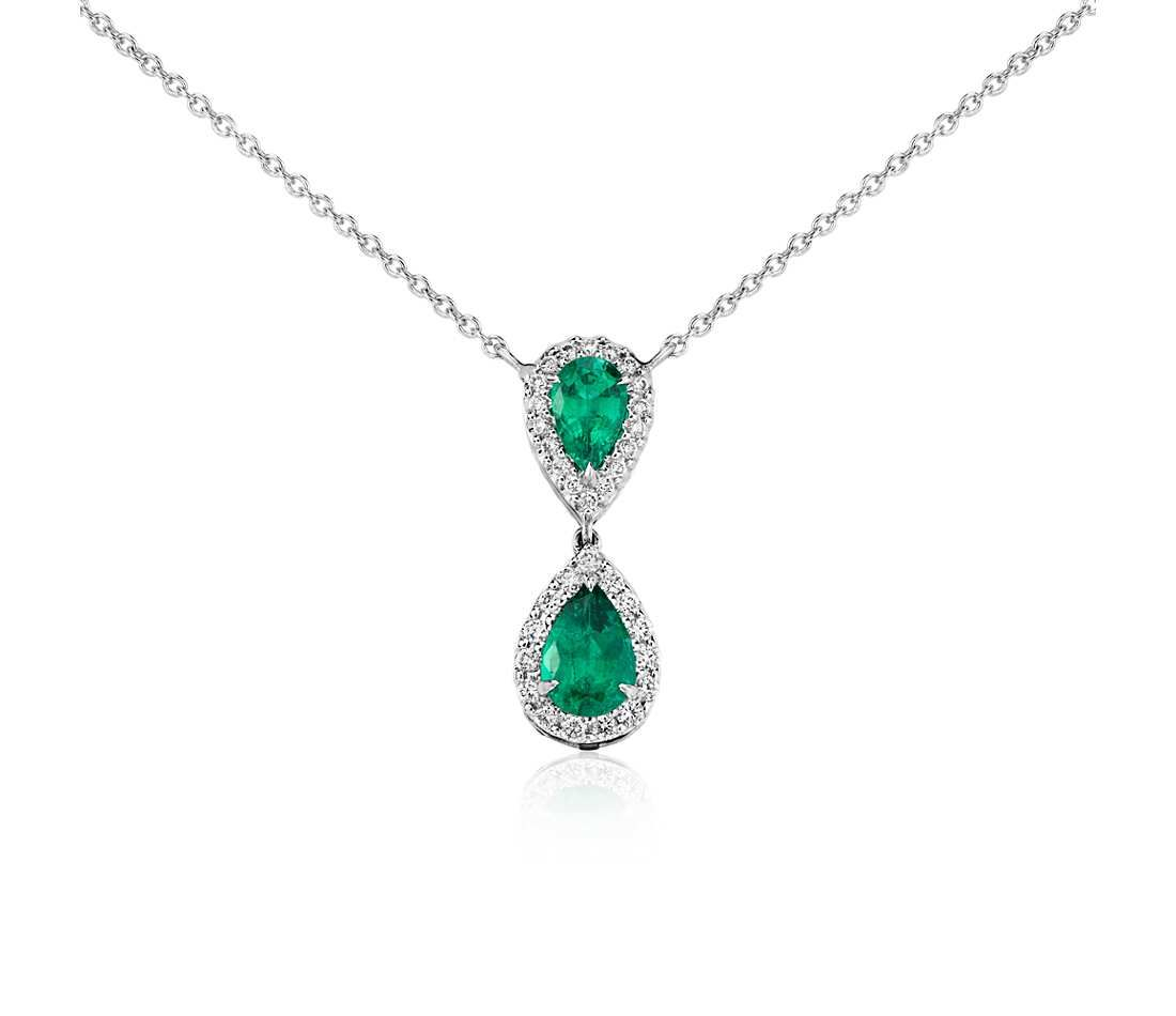 Pear shaped emerald and diamond classic drop pendant in 18k white pear shaped emerald and diamond classic drop pendant in 18k white gold 8x6mm blue nile mozeypictures Choice Image