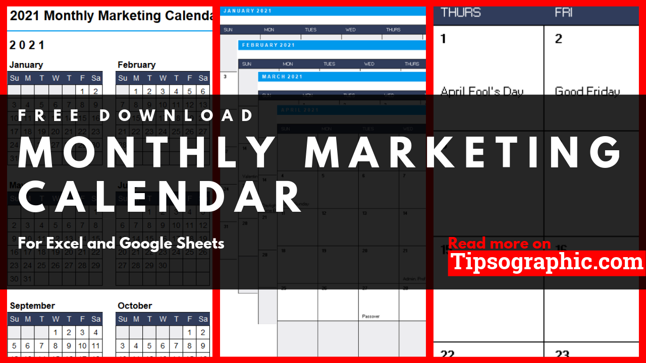 Monthly Marketing Calendar Template for Excel, Free
