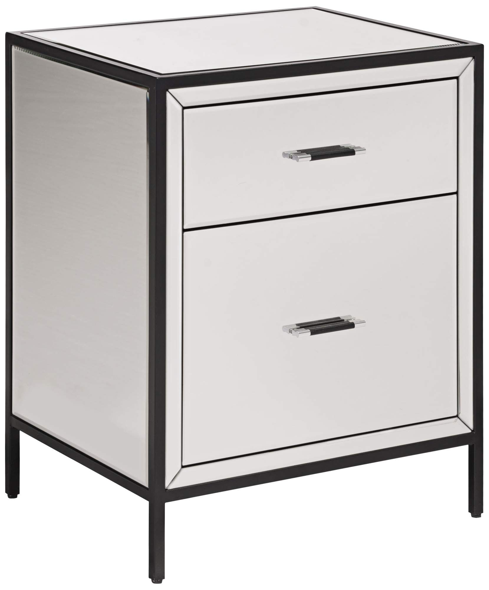 Upton 20 And One Quarter Inch Wide Mirrored 2 Drawer End Table Di