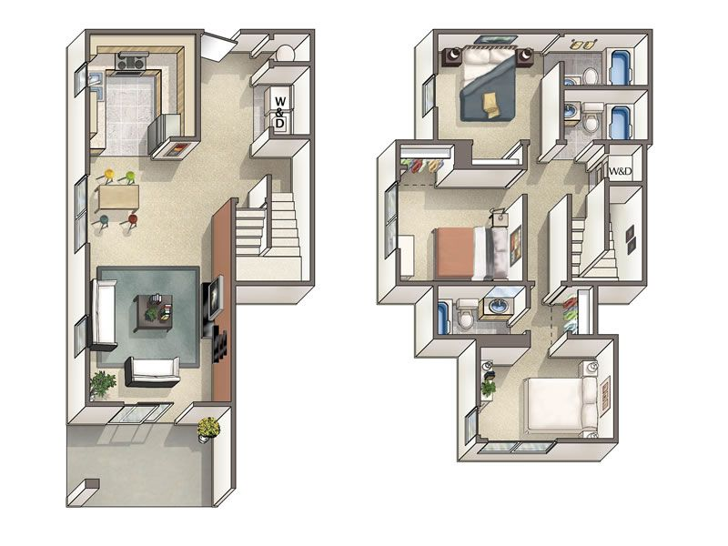 4 bedroom townhouse floor plans  Google Search  Floor